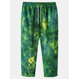 Mens Tie Dye Corduroy Drawstring Pocket Casual Pants