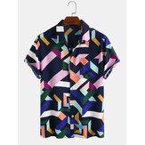 Mens Fashion Color Block Impressão geométrica respirável de manga curta Camisas casuais