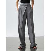 Donna tinta unita irregolare cerniera lampo allentato casual dritto Pantaloni con tasca