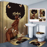 African Exploding Hair Girl Pattern Shower Curtain Waterproof Bathroom Non-slip Bath Pad Pedestal Rug Lid Toilet Cover Mat Set