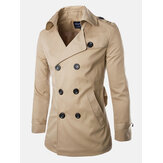 Mens Spring Autumn Double Breasted Casual Cotton British Style Trench Coats