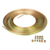 25ft Roll of 3/16'' Plated Brake Line Tubing OD Copper Nickel With 16x Tube Nuts