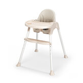 Baby High Chair Convertible Table PU leather Seat Booster Toddler Feeding Highchair Adjustable