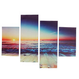4Pcs Wall Decorative Painting Sunset Beach Wall Decor Art Pictures Canvas Prints Home Office Hotel Decorations
