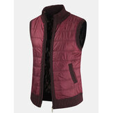 Mens Solid Color Warm Lined Slant Pocket Sleeveless Woolen Vests