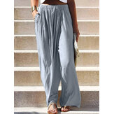 Women Solid Color Elastic Waist Pocket Loose Wide Leg Pants