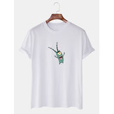 Mens Cartoon Print Round Neck Casual Short Sleeve T-Shirts
