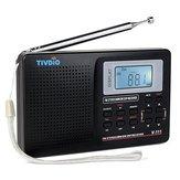 TIVDIOV-111MW/FM/ SW Rádio Estéreo 9KHz Mundial Banda Rádio de Ajuste Digital LCD Display Rádio Portátil de Bolso Rádio de Ondas Curtas Alarme Relógio Bateria Rádio Operado para Viagem