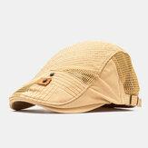 Collrown Hombres Algodón Malla Transpirable Casual al aire libre Parasol Adelante Sombrero Plano Sombrero Boina Gorra