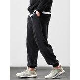 Erkek Kadife Düz Renk Gevşek Fit Elastik Kelepçe İpli Jogger Pantolon