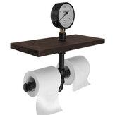 Black American Retro Industrial Style Decorative Rack Toilet Paper Rack Water Pipe Paper Towel Rack