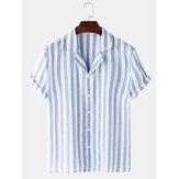 Banggood Tasarım erkekler pamuk şerit şeritli baskı kısa kollu revere gömlek