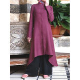 Solid Color Irregular Hem Button Down Front Muslim Maxi Shirts Dress