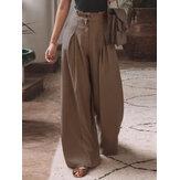 Frauen Baumwollfalten Elastische Taille Lose Lässige Hose mit weitem Bein und Seitentaschen