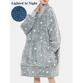 Kadın Yıldız Desen Kabarık Pazen Giyilebilir Battaniye Kapşonlu Polar Astarlı Sıcak Büyük Boy Robe