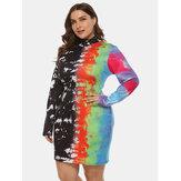 Plus Size Color impressão a jato de tinta Half-High Collar Pack Hip Dress