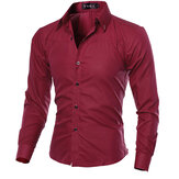 Slim Fit Herren Pure Color S-3XL Langarm-Gingham-Shirts