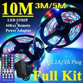 3M / 5M / 10M RGB 3528 SMD LED Luz de tira Não-impermeável Kit completo Lâmpada + 44 Chave IR remoto Controlador + Adaptador de alimentação dos EUA
