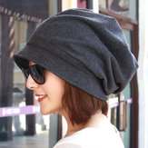 Women Cotton Plain Octagon Earmuffs Beanie Hat