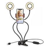 Esnek 9cm USB Şarj 3 Renkli LED Halka Işık Canlı Yayın Selfie Cep Telefonu Tutacağı ile Işık Doldur