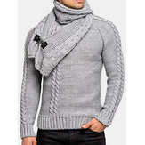 Mens Warm Solid Color Round Neck Long Sleeve Knitted Sweaters With Scarf
