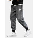 Corduroy applique da uomo con coulisse Pantaloni con tasca