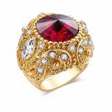 vendimiaAnillodededoredondopiedras preciosas Circonio oro geométrico