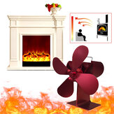 4 Blade Fireplace Fan 203CFM 1000RPM Eco Friendly Quiet Winter Thermal Heat Power Fan Wood Burner Stove Fan Home Travel