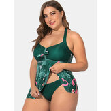 Plus Size Halter Flora Printed Swimdress With Panties