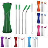 4PCS Silicone Tips Cover Reusable Stainless Steel Straw