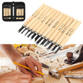 12Pcs Wood Carving Hand Chisel Tool Set Woodworking Professional Gouges + Caso