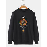 Mens 100% Cotton Flower Print Pullover Long Sleeve Sweatshirts