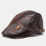 Collrown Men Faux Leather Stripe Padrão Vintage Cor Sólida Forward Chapéu Boina Chapéu