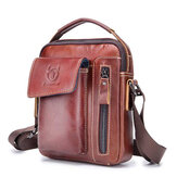 Bullcaptain Genuine Leather Business Messenger Bag Vintage Crossbody Bag For Men