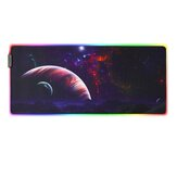 Planet RGB Gaming Mouse Pad Starry Sky USB Wired Anti-slip Colorful Backlit LED Keyboard Pad Desktop Table Protective Mat for Home Office