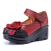 SOCOFY Retro Leather Flower Shoes For Women