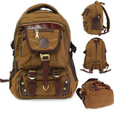 Men Women Vintage Canvas Backpack Large Capacity Multi-Pockets Rucksack Outdoor Travel Hiking Laptop Bag