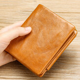 Men Genuine Leather Retro Trifold Multi Card Slot Casual Card Holder Wallet