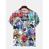 Cute Cartoon Print Casual Round Neck Short Sleeve T-Shirts
