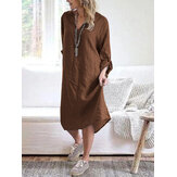 Women Cotton Solid V-Neck Long Sleeve Loose Midi Shirt Dresses