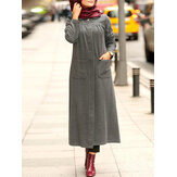 Winter Solid Color Front Pockets Casual Kaftan Tunic MuslimMaxi Dress