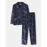 Herren 100% Baumwolle Cartoon Print Loose Home Langarm Lounge Pyjamas Set