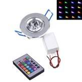 Dimmable AC85-265V 3W LED RGB Colorful Ceiling Light Down Lamp with Remote Control