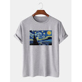 Mens Van Gogh Starry Sky Oil Painting 100% Cotton Short Sleeve Designer T-Shirts