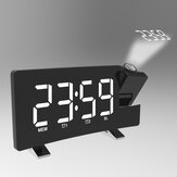 Radio Projection Alarm Clock Large Screen LED Display Electronic Clock Curved Double Alarm Clock