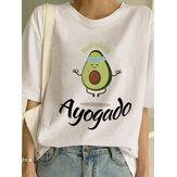 Camisetas de manga corta con estampado de aguacate y cuello redondo de manga corta para mujer