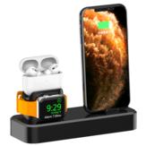 AODUKE 3 az 1-ben 18W-os C-típusú és villám Qi gyors töltésű vezeték nélküli töltő dokkoló állvány iPhone iWatch Airpods Pro készülékekhez
