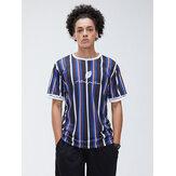 Hommes Sport Feuille Lettre Imprimer Multicolore Rayé Ras Du Cou À Manches Courtes T-shirts Respirants