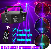 9-EYE LED Stage Light RGB DMX Scan Projector Laser Strobe DJ Lamp with Remote Control for Performance KTV
