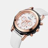 MEGIR 2042L Fashion Style Crystal Dial Date Display Waterproof Leather Strap Women Quartz Watch